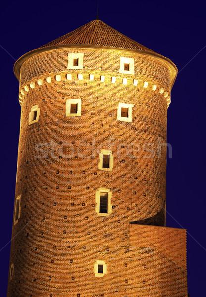 Bastille kastély Krakkó Lengyelország fal óra Stock fotó © benkrut