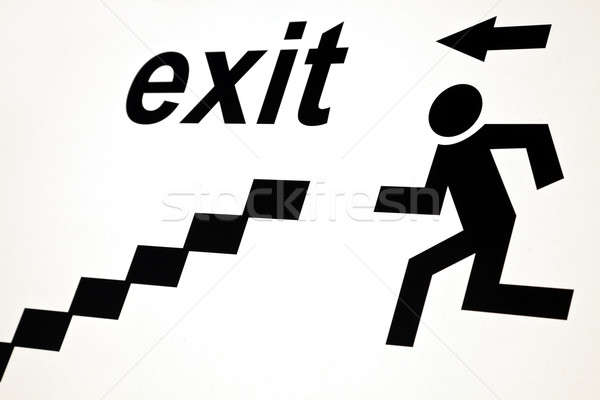 Exit sign industrielle homme silhouette informations bord Photo stock © benkrut