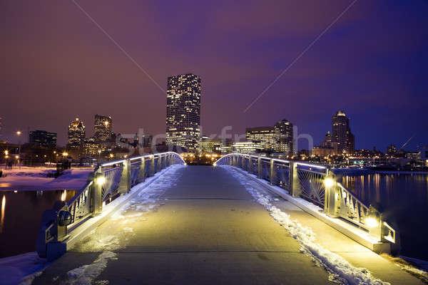 Winter sunset in Milwaukee Stock photo © benkrut