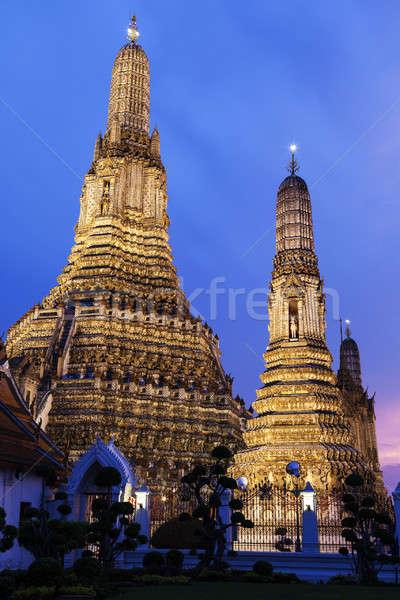 Bangkok budist tapınak Tayland seyahat gece Stok fotoğraf © benkrut