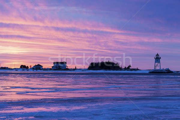 Faro Minnesota USA tramonto ghiaccio viaggio Foto d'archivio © benkrut