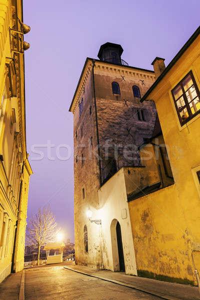 Torre Zagreb noche Croacia ciudad viaje Foto stock © benkrut