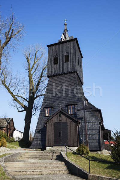 Houten kerk Polen kruis zwarte godsdienst Stockfoto © benkrut