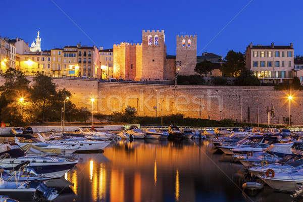 Apátság szent győztes Marseille égbolt épület Stock fotó © benkrut