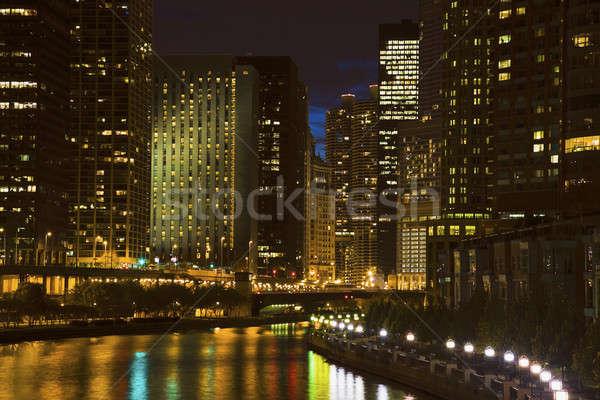 Stock fotó: Sziluett · Chicago · folyó · Illinois · USA · utazás