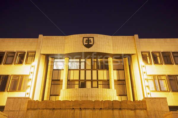 Slovaquie parlement bâtiment Bratislava nuit ville Photo stock © benkrut