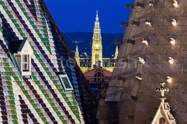 Vienna City Hall seen from St. Stephen's Cathedral Stock photo © benkrut