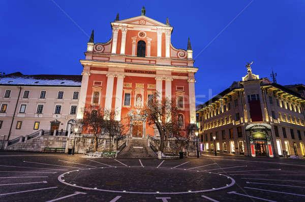 Franciscan Church and Prešeren Square  Stock photo © benkrut