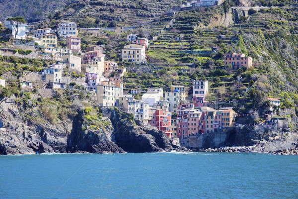 Riomaggiore architecture from the sea Stock photo © benkrut