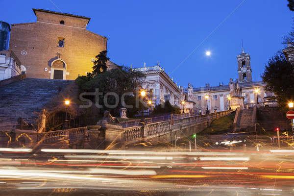 Rzym miasta sali noc budynku wygaśnięcia Zdjęcia stock © benkrut