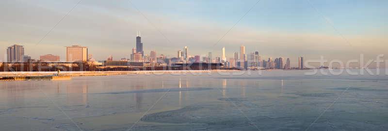 Panoráma Chicago napfelkelte Illinois USA város Stock fotó © benkrut