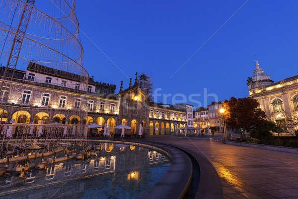Arcada on Plaza de la Republica in Braga at dawn Stock photo © benkrut