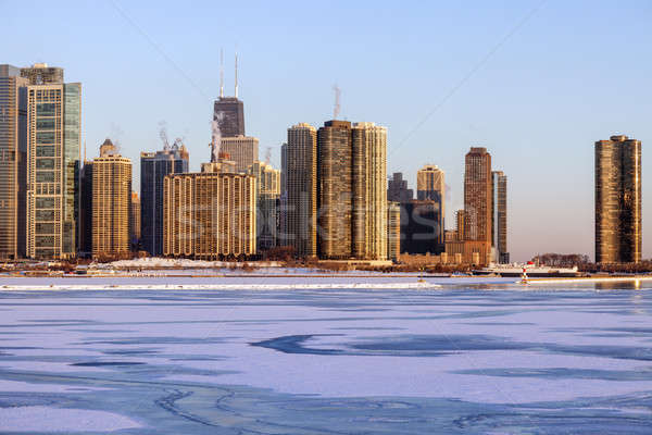 Winter in Chicago - skyline at sunrise Stock photo © benkrut