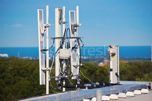 Cell antennas installed on the roof Stock photo © benkrut