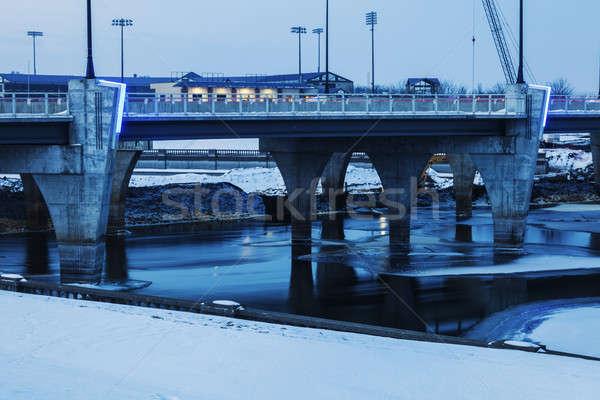 Köprü dondurulmuş nehir Iowa ABD ofis Stok fotoğraf © benkrut