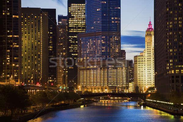 Stock fotó: Sziluett · Chicago · folyó · Illinois · USA · víz