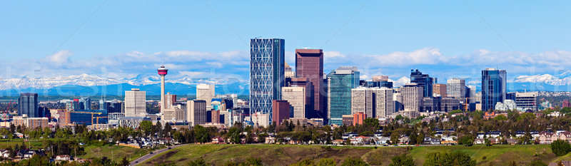 Panorama of Calgary and Rocky Mountains Stock photo © benkrut