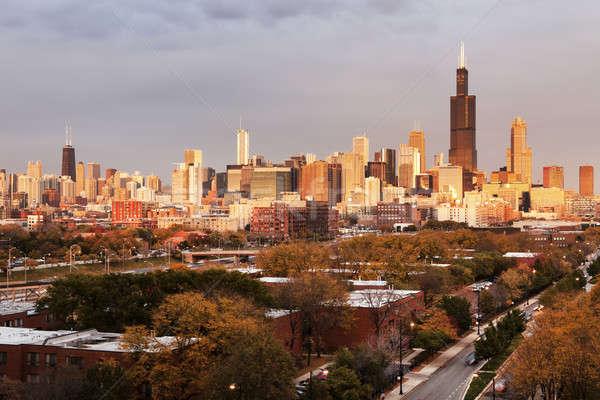 Foto stock: Chicago · outono · panorama · cidade · pôr · do · sol · viajar