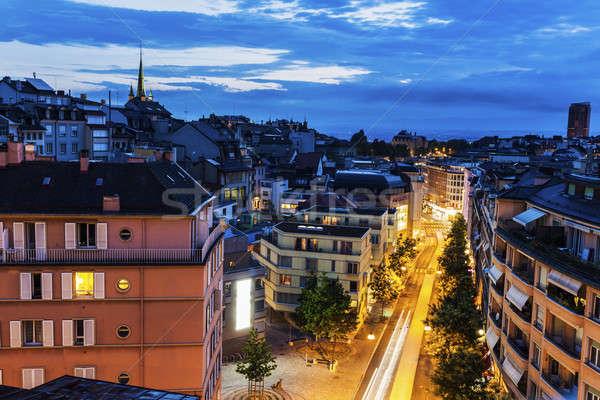 Foto stock: Panorama · noite · azul · viajar · linha · do · horizonte · europa