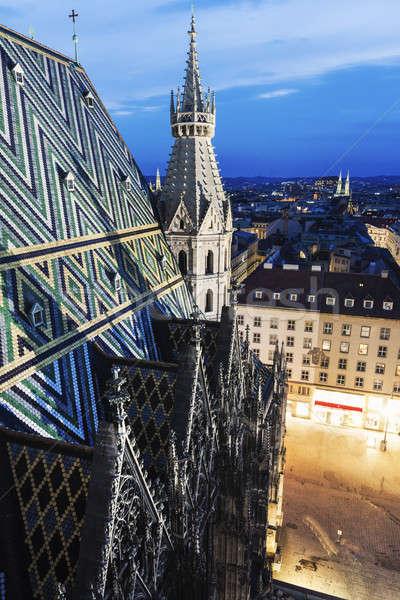 Tető katedrális Bécs Ausztria égbolt utazás Stock fotó © benkrut