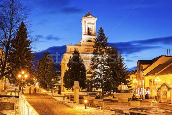Evangelical Church in Poprad at night Stock photo © benkrut