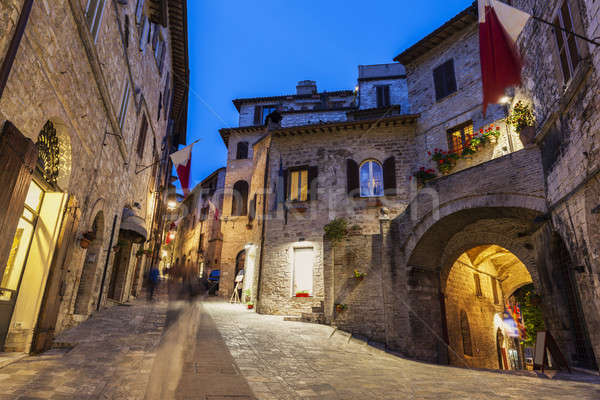 Old town of Assisi at night Stock photo © benkrut
