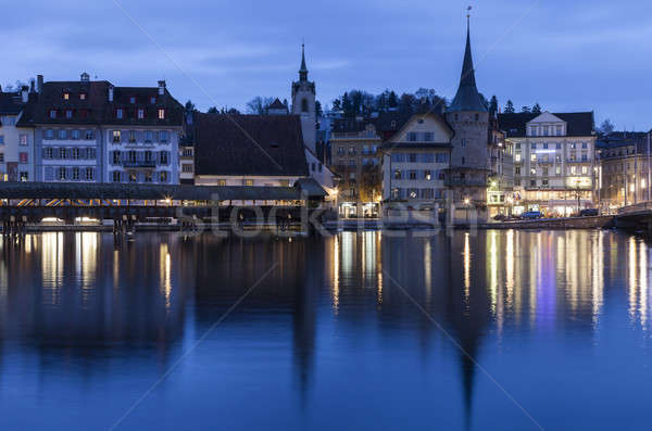 Lucerne architecture along Reuss River. Seen at sunrise. Lucerne Stock photo © benkrut