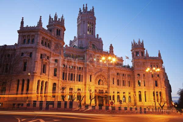 Madrid zonsopgang Spanje stad Blauw stedelijke Stockfoto © benkrut
