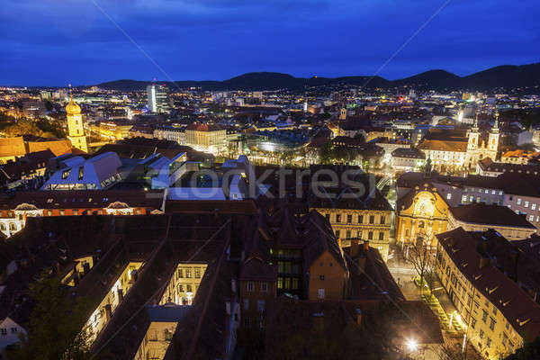 Graz panorama kasteel heuvel stad kerk Stockfoto © benkrut