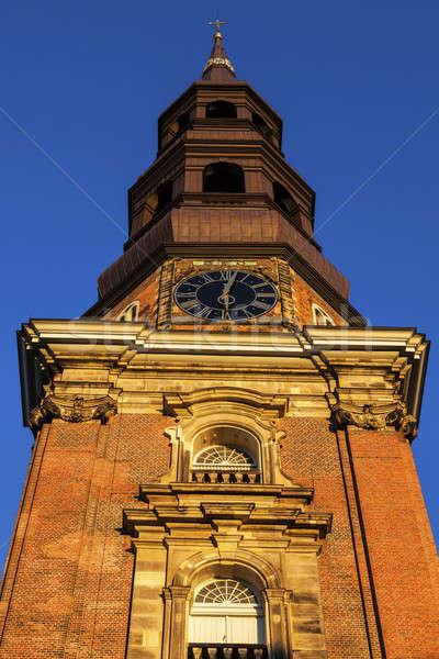 Igreja hamburgo Alemanha cidade linha do horizonte europa Foto stock © benkrut