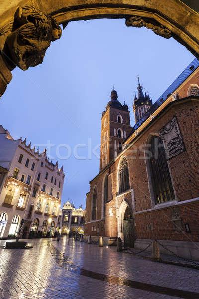 Bazilika krakow Polonya mavi gece mimari Stok fotoğraf © benkrut