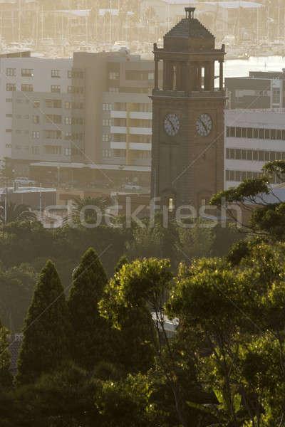 óra torony Newcastle Ausztrália naplemente épület Stock fotó © benkrut