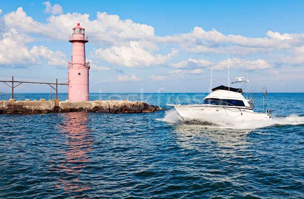 Boot vuurtoren Wisconsin USA water meer Stockfoto © benkrut