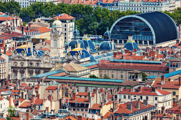 Légi panoráma Lyon város előcsarnok épület Stock fotó © benkrut