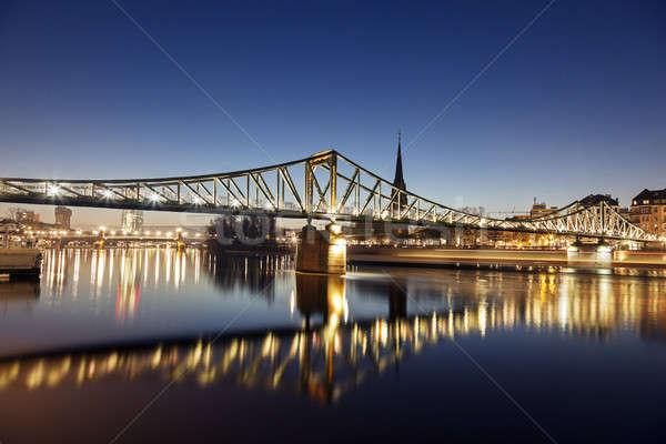 Ijzer brug Frankfurt hemel Blauw reizen Stockfoto © benkrut