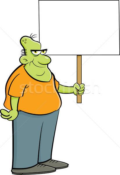 Karikatür zombi imzalamak örnek komik Stok fotoğraf © bennerdesign