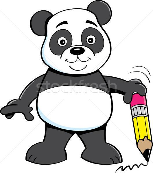 Desenho animado panda tenha lápis ilustração Foto stock © bennerdesign