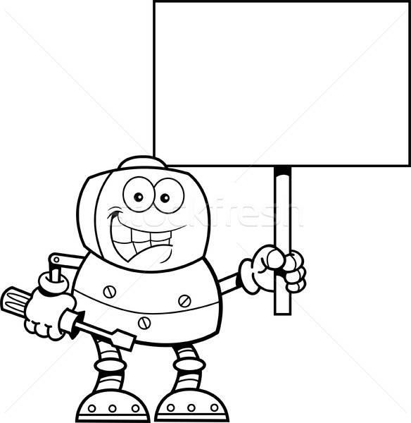 Cartoon робота ключа знак черно белые Сток-фото © bennerdesign