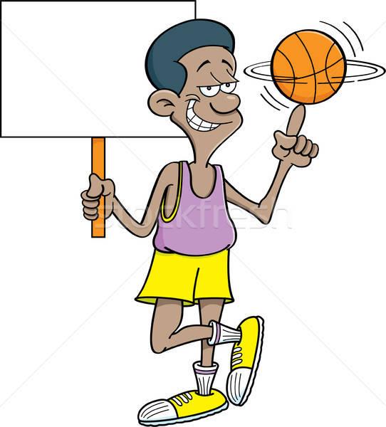 Rajz kosárlabdázó tart felirat illusztráció férfi Stock fotó © bennerdesign