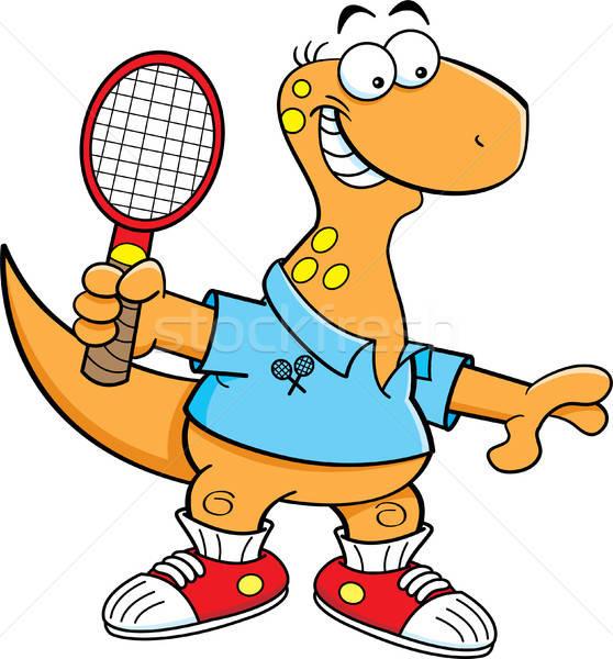 Cartoon Brontosaurus Playing Tennis. Stock photo © bennerdesign