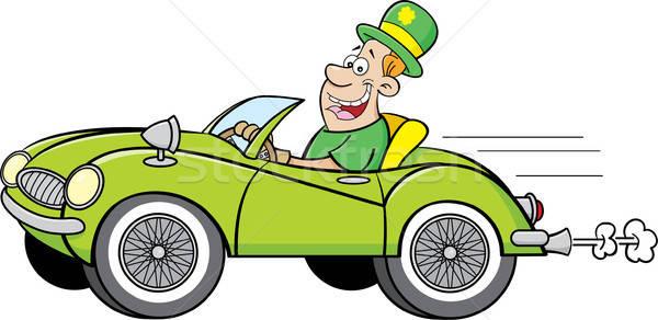 Karikatür adam derby sürücü araba Stok fotoğraf © bennerdesign