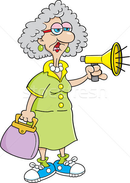 Cartoon Old Lady With A Megaphone. Stock photo © bennerdesign