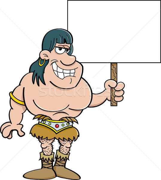 Stock photo: Cartoon barbarian holding a sign