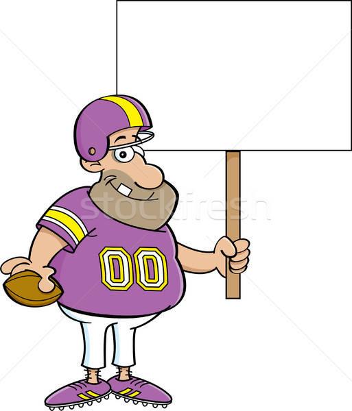 Cartoon Football Player Holding a Sign Stock photo © bennerdesign
