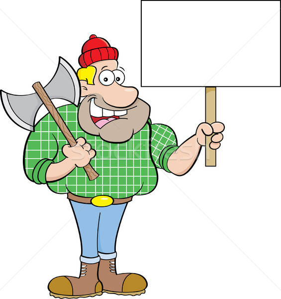 Cartoon Lumberjack Holding a Sign Stock photo © bennerdesign