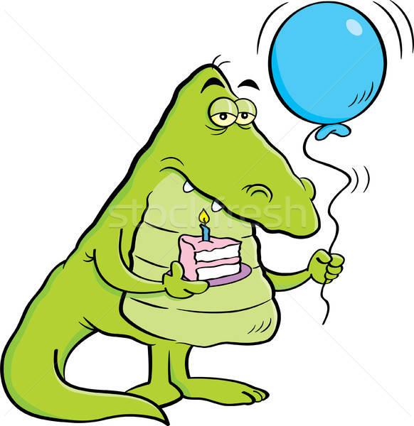 Cartoon аллигатор кусок торт шаре Сток-фото © bennerdesign