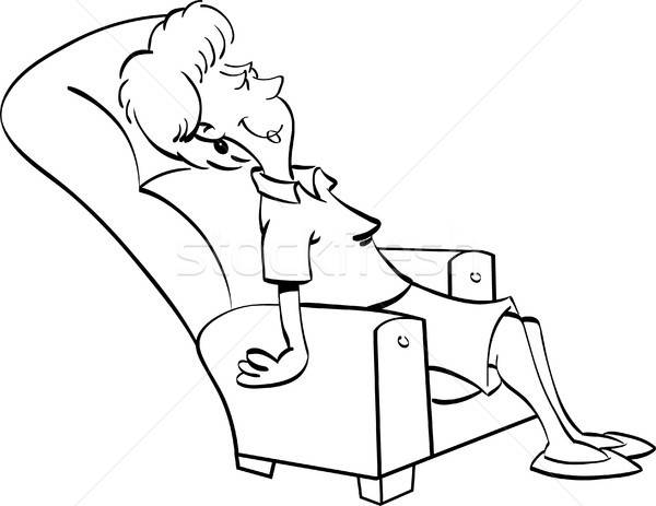 Cartoon Woman Resting in a Chair Stock photo © bennerdesign