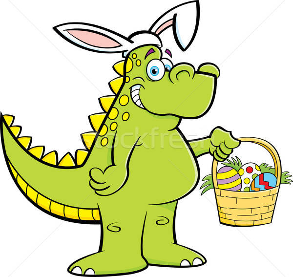 Cartoon Dinosaur Wearing Rabbit Ears and Holding an Easter Basket Stock photo © bennerdesign