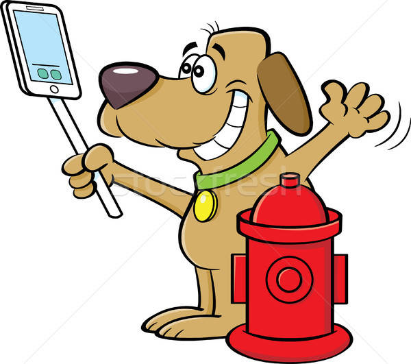 Cartoon Dog Taking a Selfie with a Fire Hydrant Stock photo © bennerdesign