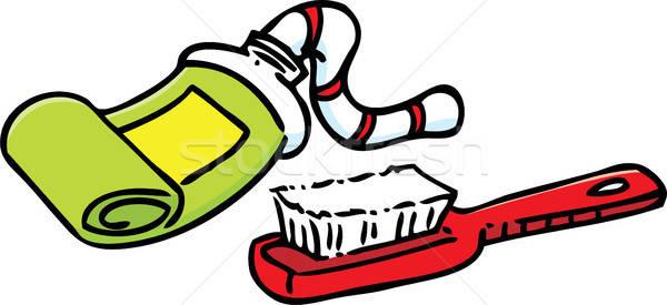 Cartoon зубная паста зубная щетка иллюстрация трубка Сток-фото © bennerdesign